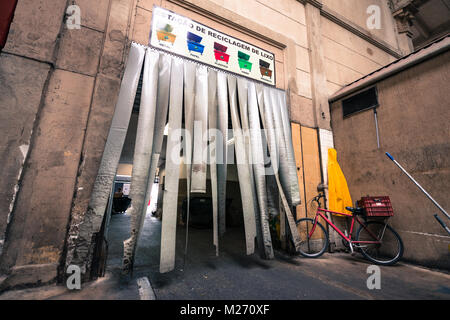 SAO PAULO, BRAZIL - FEBRUARY 02: Wide angle picture of the entrance of garbage recycling station inside Mercadao - Stock Photo