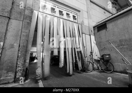 SAO PAULO, BRAZIL - FEBRUARY 02: Black and white picture of the entrance of garbage recycling station inside Mercadao - Stock Photo