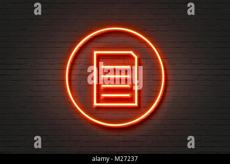 neon,icon,light,document - Stock Photo