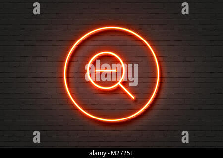Neon magnifying glass zoom out - Stock Photo