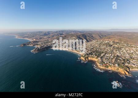 Coastline aerial view of Laguna Beach in Orange County California. - Stock Photo