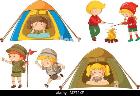 Happy Children Doing Different Activities For Camping Illustration