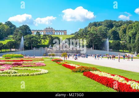 Austria, Vienna,  Schonbrunn Palace ,the Gloriette pavilion seen from the garden - Stock Photo