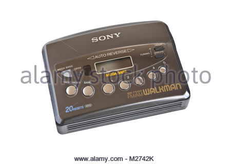 Sony Walkman Mega Bass Compact Cassette player and radio, old technology, isolated on white - Stock Photo