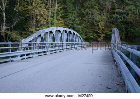Modern Bolted and Riveted Polygonal Warren Truss Bridge over North Fork Hughes River between Cairo and Harrisville - Stock Photo