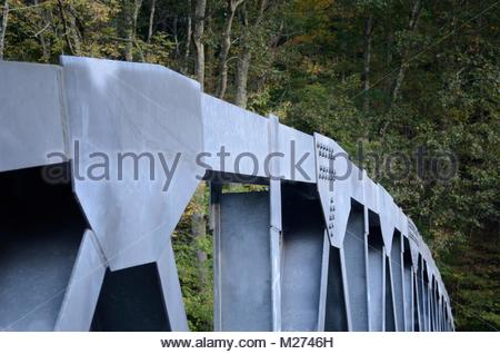 Gusset Plates on Bridge. Welded Gusset Plate and Bolted Gusset Plate connecting I-Beams on modern truss bridge in - Stock Photo