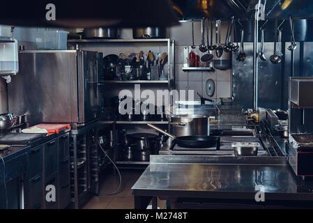 Professional stainless steel kitchen. - Stock Photo