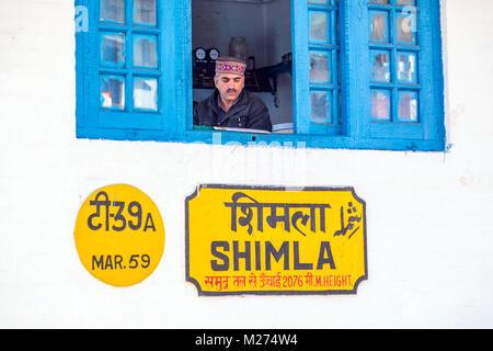 The signal box at Shimla on the narrow gauge railway line form Kalka to Shimla, India - Stock Photo