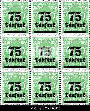 Inflation stamps German empire - Stock Photo