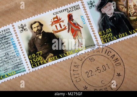 Stamps from the Vatican on a letter, Stamped, Vatican, Italy, Europe, Gestempelte Briefmarken aus dem Vatikan, Giuseppe - Stock Photo