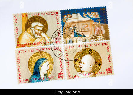 Stamps from the Vatican on a letter, Stamped, Vatican, Italy, Europe, Gestempelte Briefmarken aus dem Vatikan, Weihnachten - Stock Photo