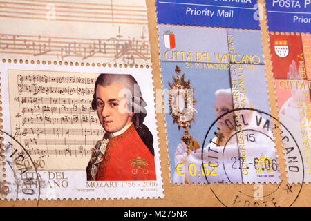 Stamps from the Vatican on a letter, Stamped, Vatican, Italy, Europe, Gestempelte Briefmarken aus dem Vatikan, Mozart - Stock Photo