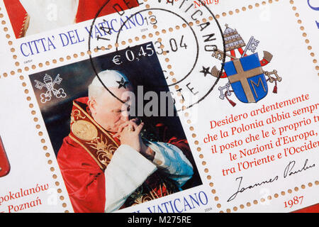 Stamps from the Vatican on a letter, Stamped, Vatican, Italy, Europe, Gestempelte Briefmarken aus dem Vatikan, Johannes - Stock Photo