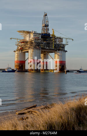 'Big Foot'  Chevron's Offshore Ocean platform, oil & natural gas rig,  departed Ingleside, Texas, Gulf Of Mexico. - Stock Photo