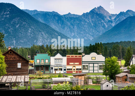 Fort Steele Heritage Town, Canadian Rockies in distance, East Kootenay Region, British Columbia, Canada - Stock Photo