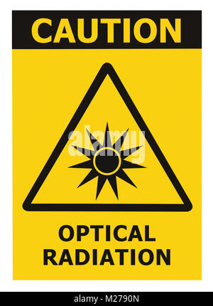 Optical radiation hazard caution safety danger warning text sign sticker label, artificial light beam icon symbol, - Stock Photo