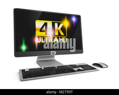 Modern computer with an inscription on the screen 4K. 3d rendering. - Stock Photo