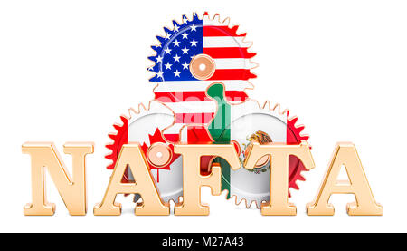 North American Free Trade Agreement concept with gears. 3D rendering isolated on white background - Stock Photo