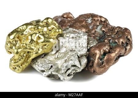 native gold, silver and copper nuggets isolated on white background - Stock Photo