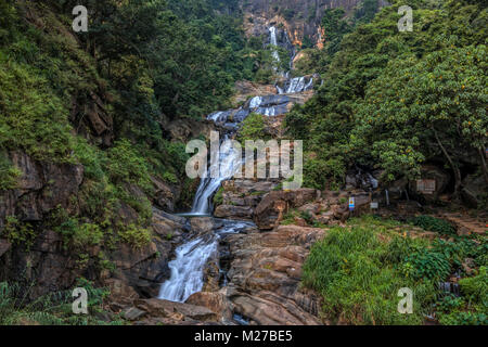 Ravana Falls, Ella, Sri Lanka, Asia - Stock Photo