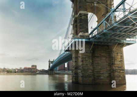 Roebling Bridge in Cincinnati Ohio. Designed by John A Roebling - the designer of it's bigger brother the Brooklyn - Stock Photo