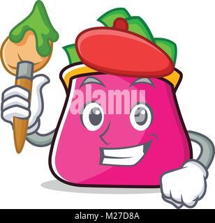 Artist purse character cartoon style - Stock Photo