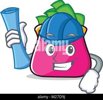 Architect purse character cartoon style - Stock Photo