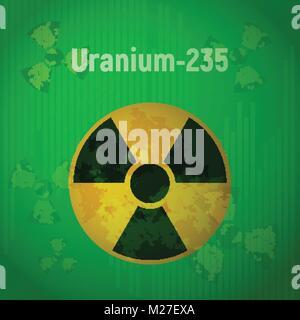 Sign of radiation. Uranium 235. - Stock Photo