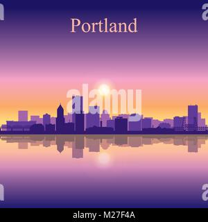 Portland city skyline silhouette background, vector illustration - Stock Photo