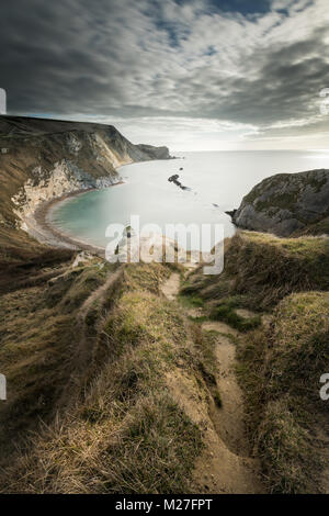 Man O War Bay on the Jurassic Coast in Dorset - Stock Photo
