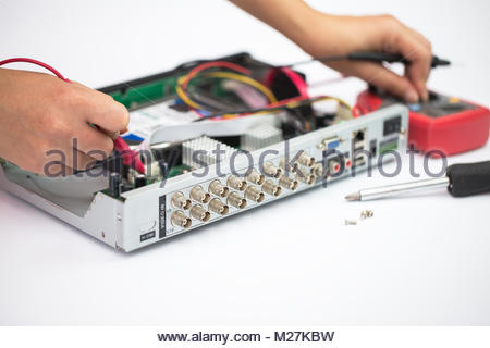 Repair,CCTV,Digital video recorder - Stock Photo