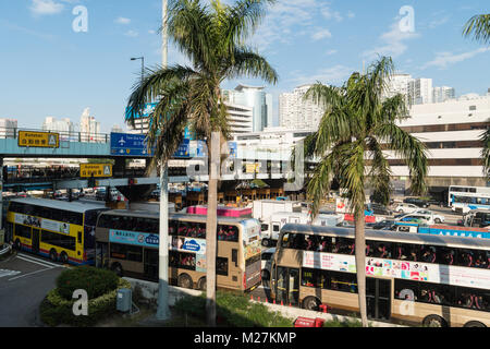 Hong Kong - January 25 2018: Traffic jam on the crowded road leading to and from the Cross harbour tunnel in Hung - Stock Photo