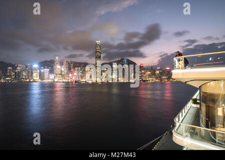 Hong Kong - January 25 2018: The viewing platform on the top of the Ocean cruise terminal in Kowloon with the Hong - Stock Photo