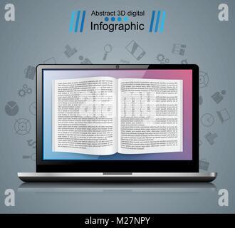 Digital gadget, notebook, book, read, ebook, bookreader icon. - Stock Photo