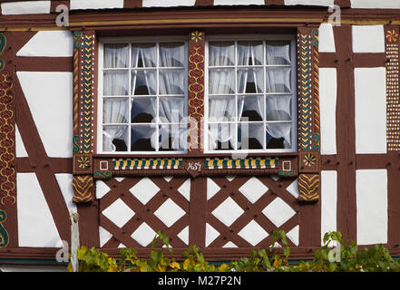 Detail of a beautiful half-timbered house at wine village Ediger-Eller, Moselle river, Rhineland-Palatinate, Germany, - Stock Photo