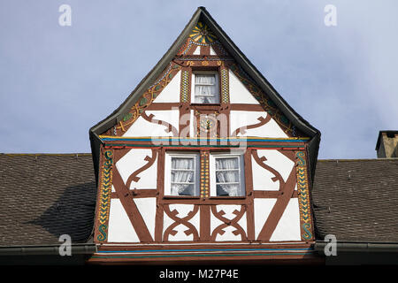 Dormer of a half-timbered house at wine village Ediger-Eller, Moselle river, Rhineland-Palatinate, Germany, Europe - Stock Photo