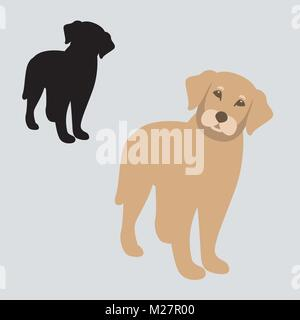 dog vector illustration flat style front side black silhouette - Stock Photo
