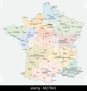 paris administrative map Stock Vector Art Illustration Vector