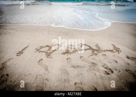 I Love Bali - inscription on the sand - Stock Photo