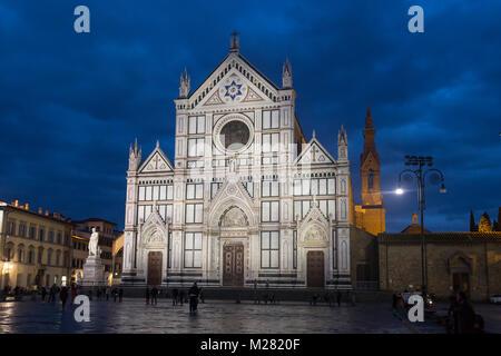 Church Basilica of Santa Croce in the dawn, Piazza di Santa Croce, Florence, Tuscany, Italy - Stock Photo