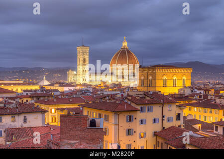 View over Florence with Cathedral Duomo Santa Maria del Fiore and church Orsanmichele at dusk, Florence, Tuscany, - Stock Photo