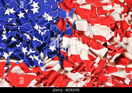USA flag shattered in pieces, artistic effect - Stock Photo