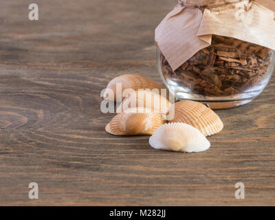 set ingredients and spice for aromatherapy and body care on wooden surface. SPA still life - Stock Photo