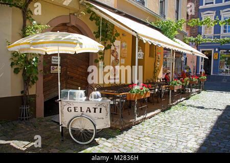 Gelati, nostalgic ice cream cart as decoration, ice cream shop at Trarbach, Traben-Trarbach, Moselle river, Rhineland - Stock Photo