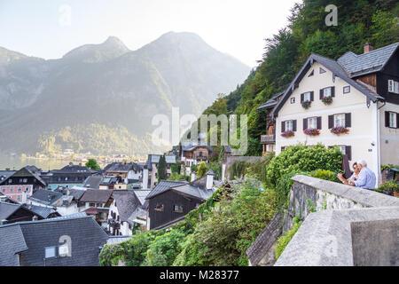 ... The Mountains Austria; Landscape Hallstatt Village View From Beinhaus  Ossuary Garden, Known As Bone House, With Historical