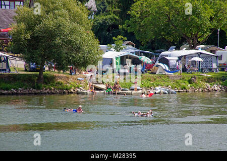 Camping ground at riverside, bathing in Moseller river, Wolf, Traben-Trarbach, Moselle river, Rhineland-Palatinate, Germany, Europe