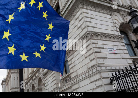 As the EU's Chief negotiator Michel Barnier meets Theresa May in London to discuss the next stage of Brexit, the - Stock Photo