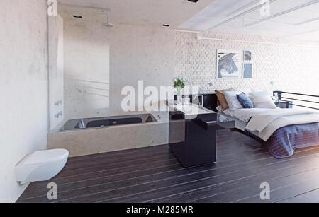modern loft bedroom interior concept 3d render stock photo