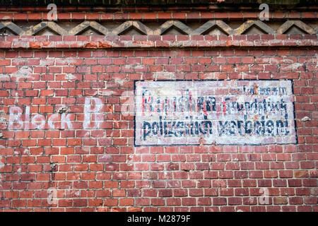 Berlin,Prenzlauerberg, Inner Courtyard of former Königstadt brewery. Ghost sign on decorative old brick wall. - Stock Photo