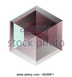 isolated hexagonal blue and purple crystal - Stock Photo